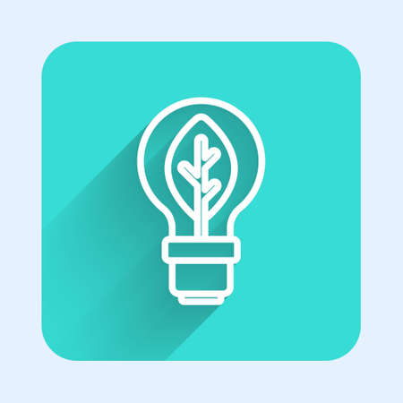 White line Light bulb with leaf icon isolated with long shadow. Eco energy concept. Alternative energy concept. Green square button. Vector 矢量图像