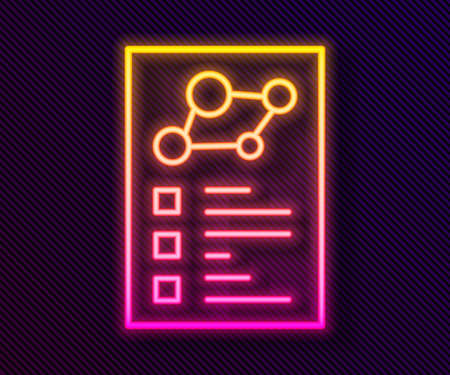 Glowing neon line Medical clipboard with clinical record icon isolated on black background. Health insurance form. Prescription, medical check marks report. Vector