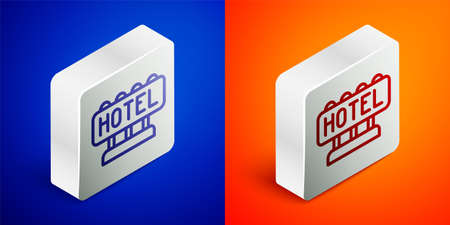 Isometric line Signboard outdoor advertising with text Hotel icon isolated on blue and orange background. Silver square button. Vector