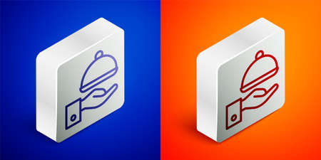 Isometric line Covered with a tray of food icon isolated on blue and orange background. Tray and lid sign. Restaurant cloche with lid. Silver square button. Vector 일러스트