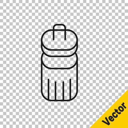 Black line Trash can icon isolated on transparent background. Garbage bin sign. Recycle basket icon. Office trash icon. Vector