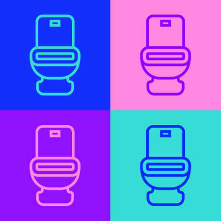 Pop art line Toilet bowl icon isolated on color background. Vector 矢量图像