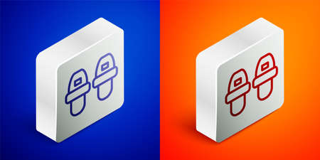 Isometric line Hotel slippers icon isolated on blue and orange background. Flip flops sign. Silver square button. Vector 일러스트