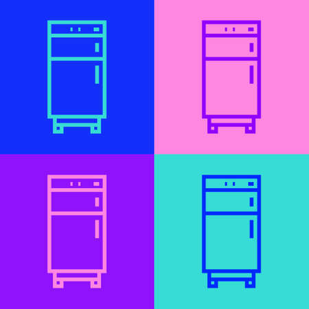 Pop art line Refrigerator icon isolated on color background. Fridge freezer refrigerator. Household tech and appliances. Vector 일러스트