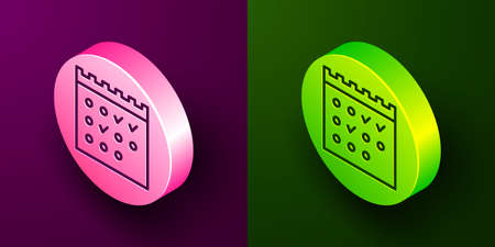 Isometric line Hotel booking calendar icon isolated on purple and green background. Circle button. Vector