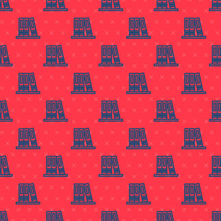 Blue line Office folders with papers and documents icon isolated seamless pattern on red background. Office binders. Archives folder sign. Vector