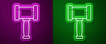 Glowing neon line Judge gavel icon isolated on purple and green background. Gavel for adjudication of sentences and bills, court, justice. Auction hammer. Vector