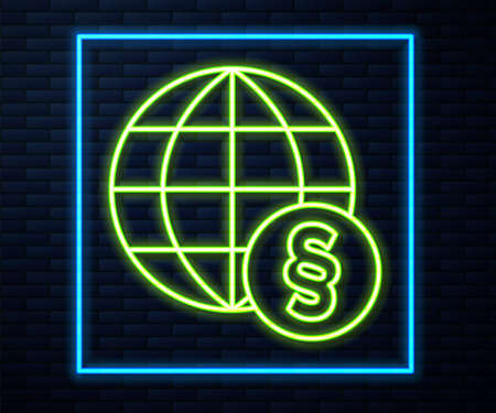 Glowing neon line International law icon isolated on brick wall background. Global law logo. Legal justice verdict world. Vector