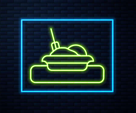 Glowing neon line Plate, fork and knife icon isolated on brick wall background. Cutlery symbol. Restaurant sign. Vector