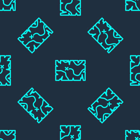 Green line Pirate treasure map icon isolated seamless pattern on blue background. Vector 일러스트