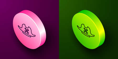 Isometric line Pirate hat icon isolated on purple and green background. Circle button. Vector