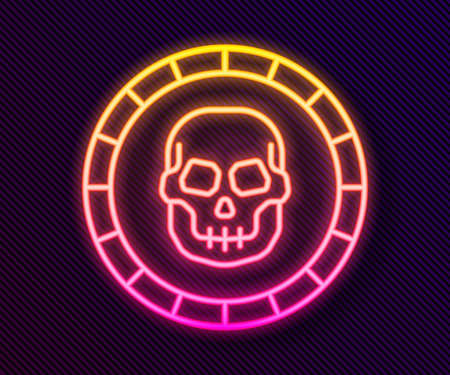 Glowing neon line Pirate coin icon isolated on black background. Vector