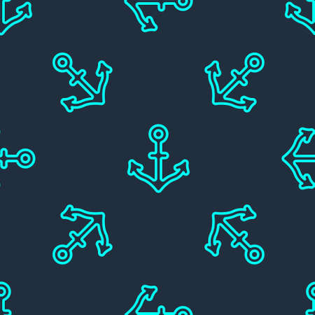 Green line Anchor icon isolated seamless pattern on blue background. Vector