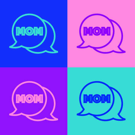 Pop art line Speech bubble mom icon isolated on color background. Happy mothers day. Vector