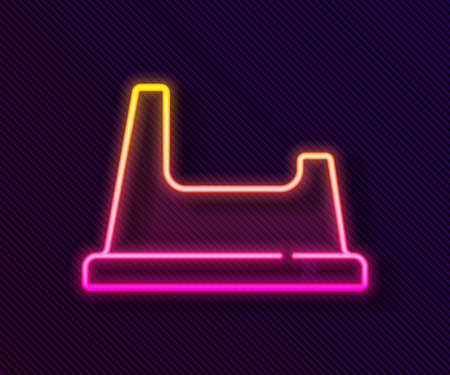 Glowing neon line Baby potty icon isolated on black background. Chamber pot. Vector