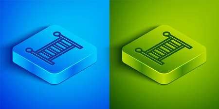 Isometric line Baby crib cradle bed icon isolated on blue and green background. Square button. Vector
