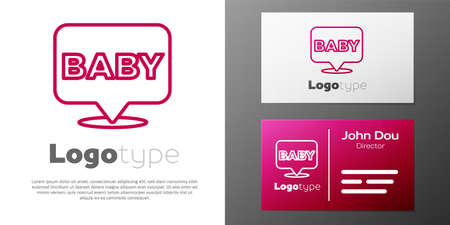 Logotype line Baby icon isolated on white background. Logo design template element. Vector 矢量图像