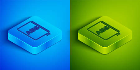 Isometric line ABC book icon isolated on blue and green background. Dictionary book sign. Alphabet book icon. Square button. Vector