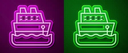 Glowing neon line Cruise ship icon isolated on purple and green background. Travel tourism nautical transport. Voyage passenger ship, cruise liner. Worldwide cruise. Vector