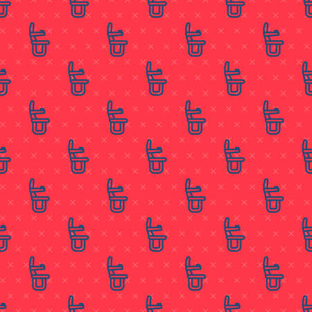 Blue line Airplane seat icon isolated seamless pattern on red background. Vector
