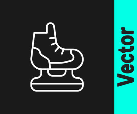 White line Skates icon isolated on black background. Ice skate shoes icon. Sport boots with blades. Vector