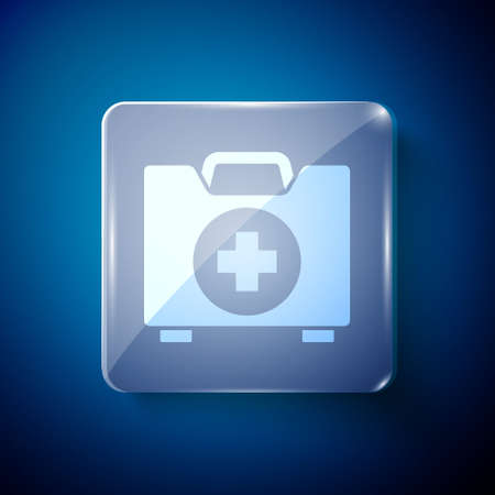 White First aid kit icon isolated on blue background. Medical box with cross. Medical equipment for emergency. Healthcare concept. Square glass panels. Vector Illustration  イラスト・ベクター素材