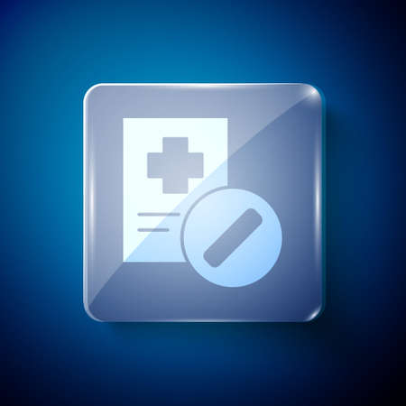 White Medical prescription icon isolated on blue background. Rx form. Recipe medical. Pharmacy or medicine symbol. Square glass panels. Vector Illustration  イラスト・ベクター素材