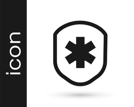 Grey Medical shield with cross icon isolated on white background. Protection, safety, password security. Vector Illustration