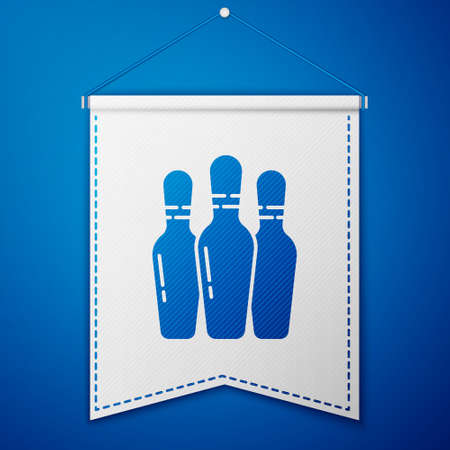 Blue Bowling pin icon isolated on blue background. White pennant template. Vector Illustration  イラスト・ベクター素材