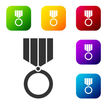 Black Medal icon isolated on white background. Winner achievement sign. Award medal. Set icons in color square buttons. Vector Illustration