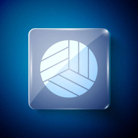 White Volleyball ball icon isolated on blue background. Sport equipment. Square glass panels. Vector Illustration