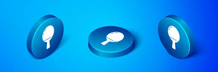 Isometric Racket for playing table tennis icon isolated on blue background. Blue circle button. Vector Illustration