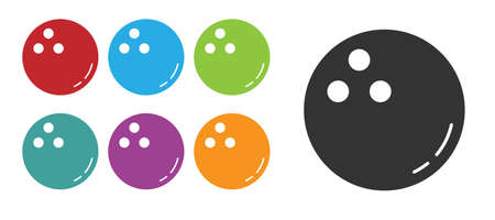 Black Bowling ball icon isolated on white background. Sport equipment. Set icons colorful. Vector Illustration  イラスト・ベクター素材