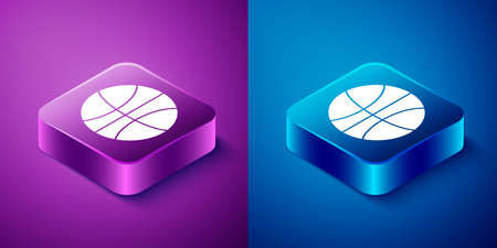 Isometric Basketball ball icon isolated on blue and purple background. Sport symbol. Square button. Vector Illustration