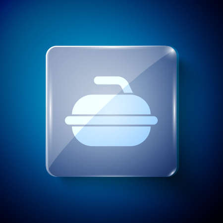 White Stone for curling sport game icon isolated on blue background. Sport equipment. Square glass panels. Vector Illustration