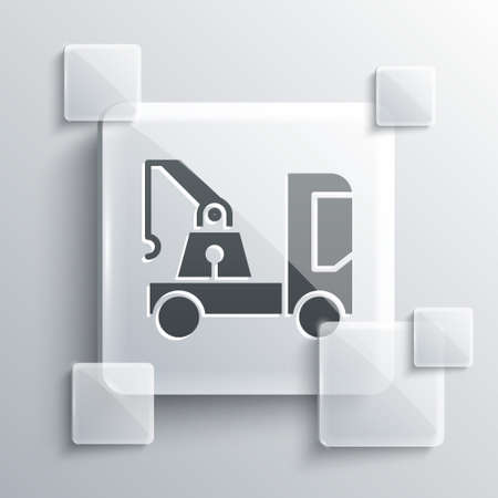 Grey Tow truck icon isolated on grey background. Square glass panels. Vector Illustration