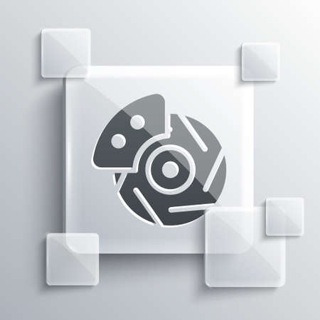 Grey Car brake disk with caliper icon isolated on grey background. Square glass panels. Vector Illustration
