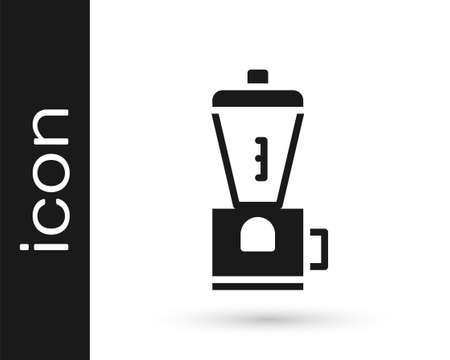 Grey Electric coffee grinder icon isolated on white background. Vector Illustration  イラスト・ベクター素材