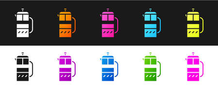 Set French press icon isolated on black and white background. Vector Illustration