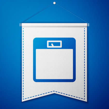 Blue Bathroom scales icon isolated on blue background. Weight measure Equipment. Weight Scale fitness sport concept. White pennant template. Vector Illustration  イラスト・ベクター素材