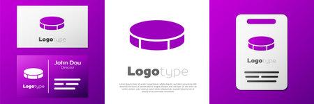 Logotype Hockey puck icon isolated on white background. Sport equipment.  イラスト・ベクター素材