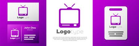 Logotype Retro tv icon isolated on white background. Television sign.