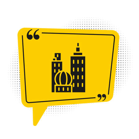Black City landscape icon isolated on white background. Metropolis architecture panoramic landscape. Yellow speech bubble symbol. Vector Illustration  イラスト・ベクター素材