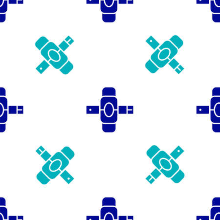 Blue Knee pads icon isolated seamless pattern on white background. Extreme sport. Skateboarding, bicycle, roller skating protective gear. Vector Illustration
