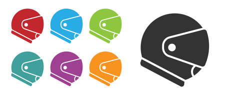 Black Helmet icon isolated on white background. Extreme sport. Sport equipment. Set icons colorful. Vector Illustration