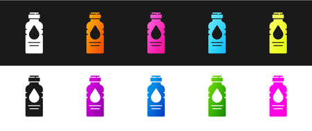 Set Bottle of water icon isolated on black and white background. Soda aqua drink sign. Vector Illustration