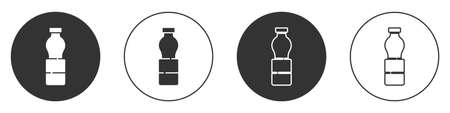 Black Bottle of water icon isolated on white background. Soda aqua drink sign. Circle button. Vector Illustration