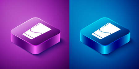 Isometric Glass with water icon isolated on blue and purple background. Soda glass. Square button. Vector Illustration