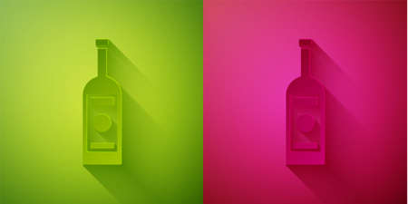 Paper cut Glass bottle of vodka icon isolated on green and pink background. Paper art style. Vector Illustration  イラスト・ベクター素材