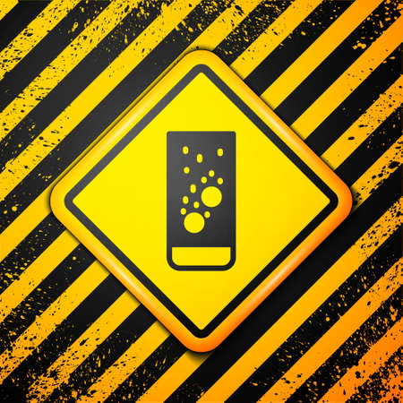 Black Effervescent aspirin tablets dissolve in a glass of water icon isolated on yellow background. Warning sign. Vector Illustration  イラスト・ベクター素材